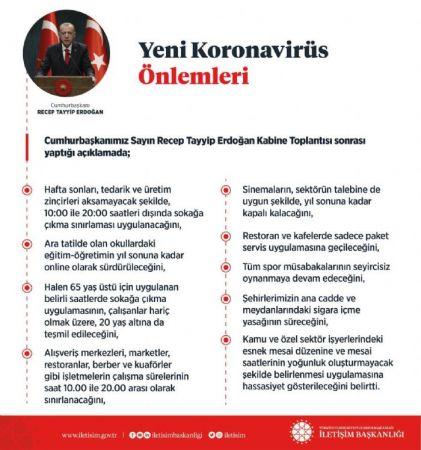 .Erdoğan: Hafta sonları saat 10.00-20.00 saatleri dışında sokağa çıkma yasağı uygulanacak