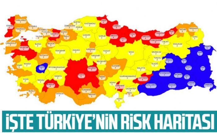 81 ilin koronavirüs risk haritası Gaziantep orta riskli şehirler arasında...