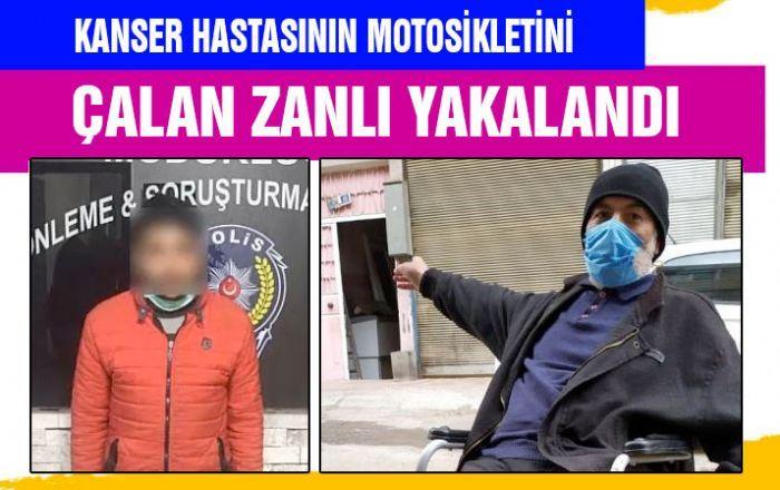 Kanser hastasının motosikletini çalan zanlı yakalandı