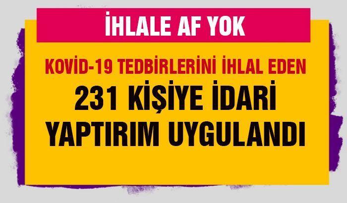 Gaziantep'te Kovid-19 tedbirlerini ihlal eden 231 kişiye idari yaptırım uygulandı