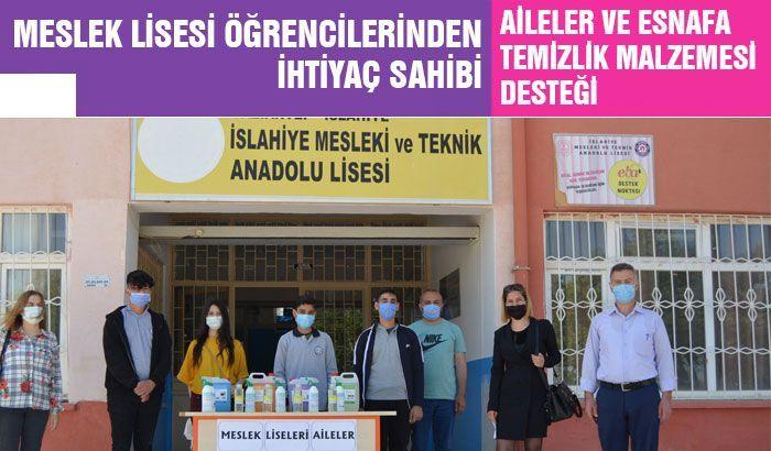 Gaziantep'te meslek lisesi öğrencilerinden ihtiyaç sahibi aileler ve esnafa temizlik malzemesi desteği