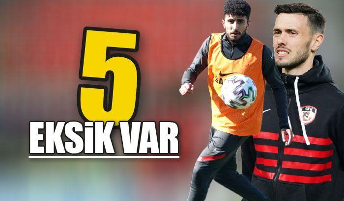 Gaziantep FK'da 5 eksik