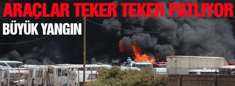 Büyük yangın! Araçlar teker teker patlayarak yanıyor