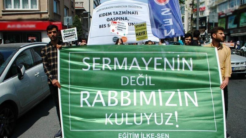 İstanbul'da 1 Mayıs eylemi: ''Asgari ücret köleliktir; sermayenin değil Rabbimizin kuluyuz!''