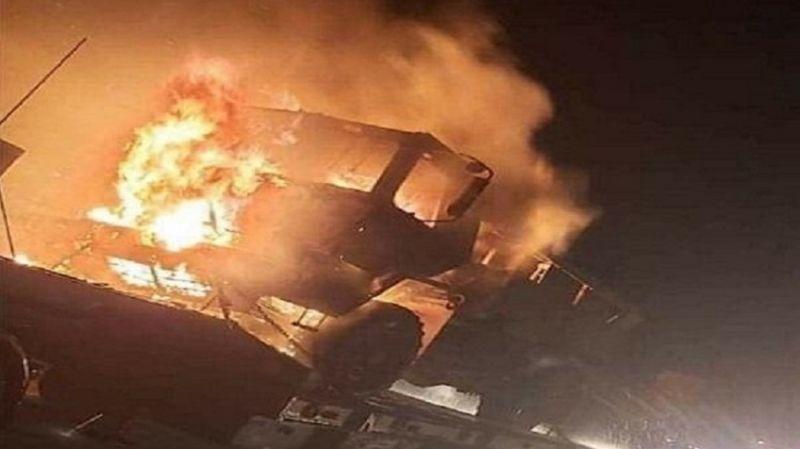 Cayır cayır yandı: Amerikan askeri konvoyunu ateşe verdiler