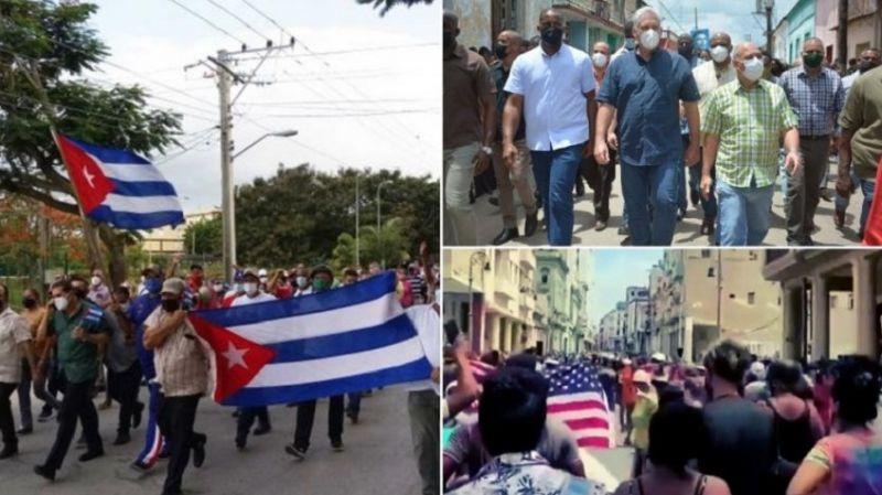 Küba'da Amerikan yanlıları sokağa indi: Gel, bizi kurtar!