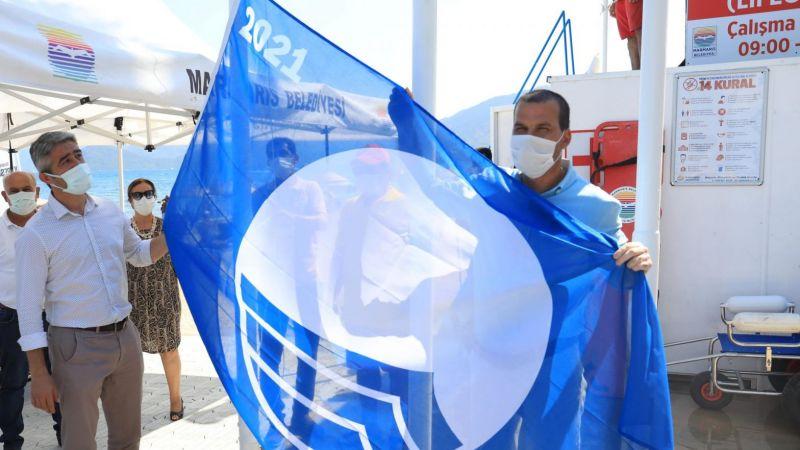 İki halk plajına mavi bayrak çekildi