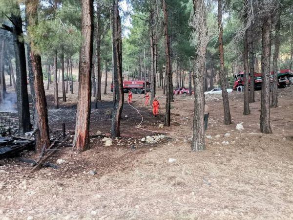 Kahramanmaraş'ta Ormanlık Alanda Çıkan Yangına İtfaiye Ekibi Müdahale Etti