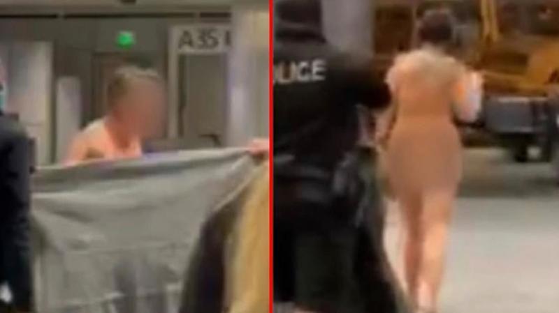 Havalimanında Çırılçıplak Gezen Kadın Herkese 'Nerelisin' Diye Sordu