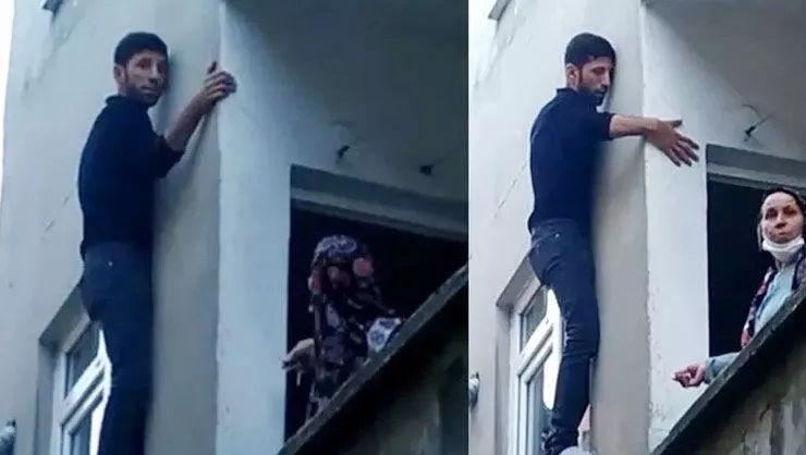 Balkondan kaçmak isteyen hırsız, ev sahiplerine yalvardı!