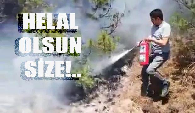 Tam zamanında müdahale! Makinistler treni durdurup orman yangınını söndürdü