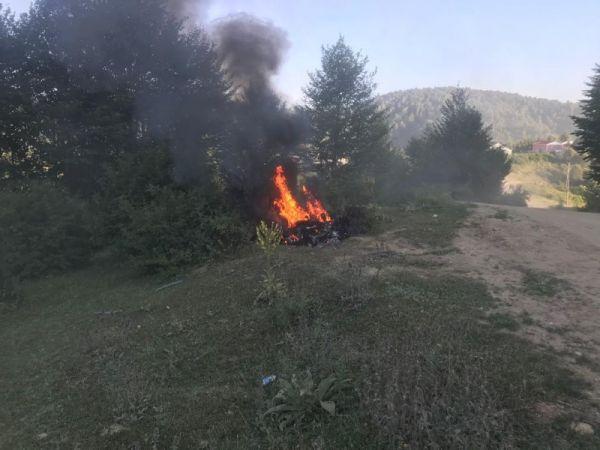Acelle Yaylasında çıkan yangın panik oluşturdu