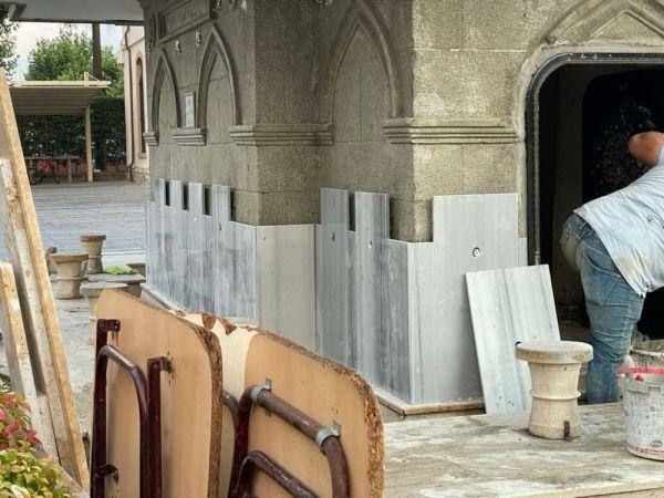 Orhan Cami şadırvanına mermer döşediler