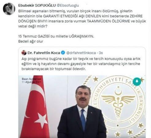 Profesör Ebubekir Sofuoğlu aşı karşıtı çıktı
