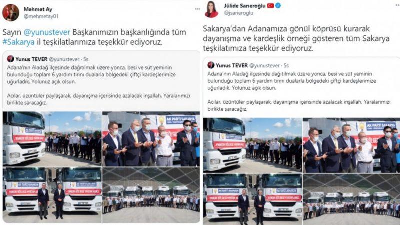 Adana'dan Sakarya'ya yardım teşekkürü
