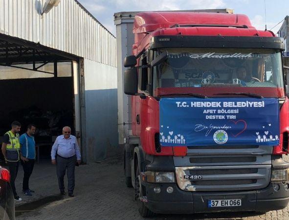 Hendek'ten afet bölgesine gıda ve su yardımı