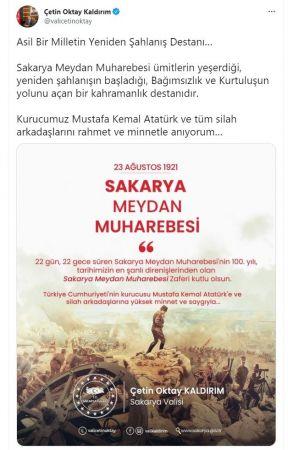 Vali Kaldırım'dan 'Sakarya Meydan Muharebesi' paylaşımı