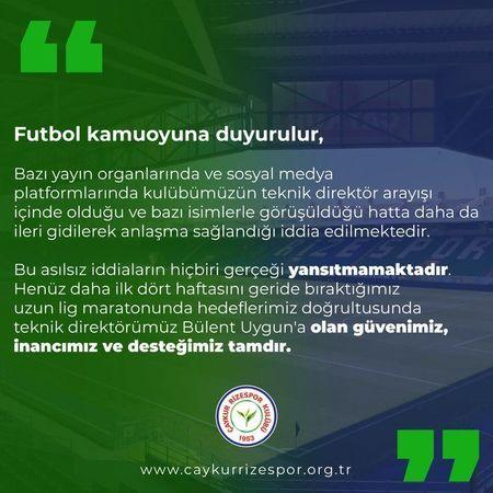 Çaykur Rizespor, Bülent Uygun ile ilgili iddiaları yalanladı