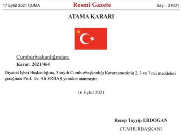 Prof. Dr. Ali Erbaş, Diyanet İşleri Başkanlığı'na yeniden atandı