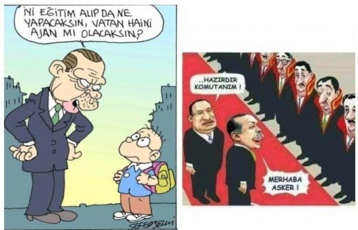 'Erdoğan'a hakaret'te bugün: Selvi ve Kart'ın karikatürlerini paylaşan işçiye 2 yıl hapis