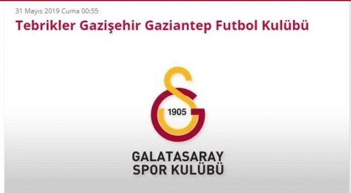 Şampiyon Galatasaray'dan Gaziantep'e Kutlama Mesajı