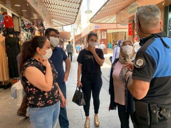 Gaziantep'te Polisten vatandaşlara Maske Uyarısı